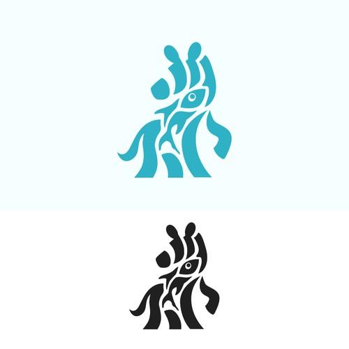Simple Logo Concept Beetwen Zebra And Fish