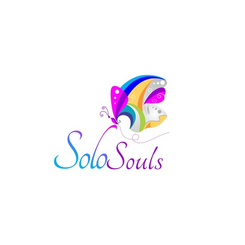 Create a beautiful logo for Solo Souls transforming loneliness to joy