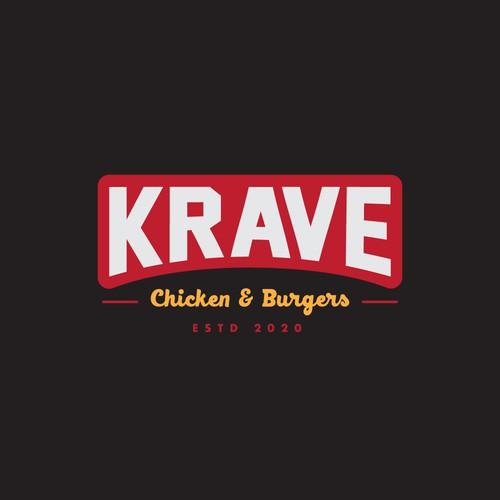 Logo for Krave Chicken & Burgers