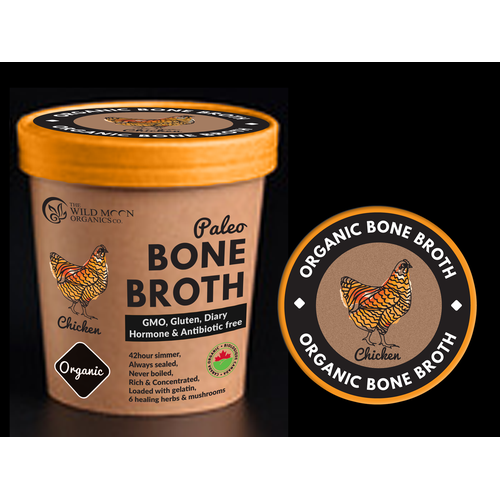 Organic bone broth label