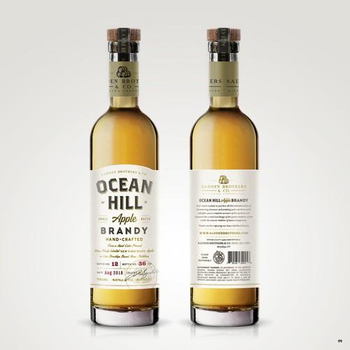 Label design for Ocean Hill Apple Brandy.