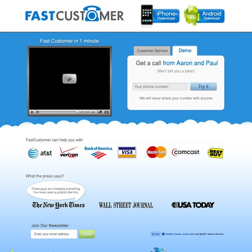 FastCustomer site design
