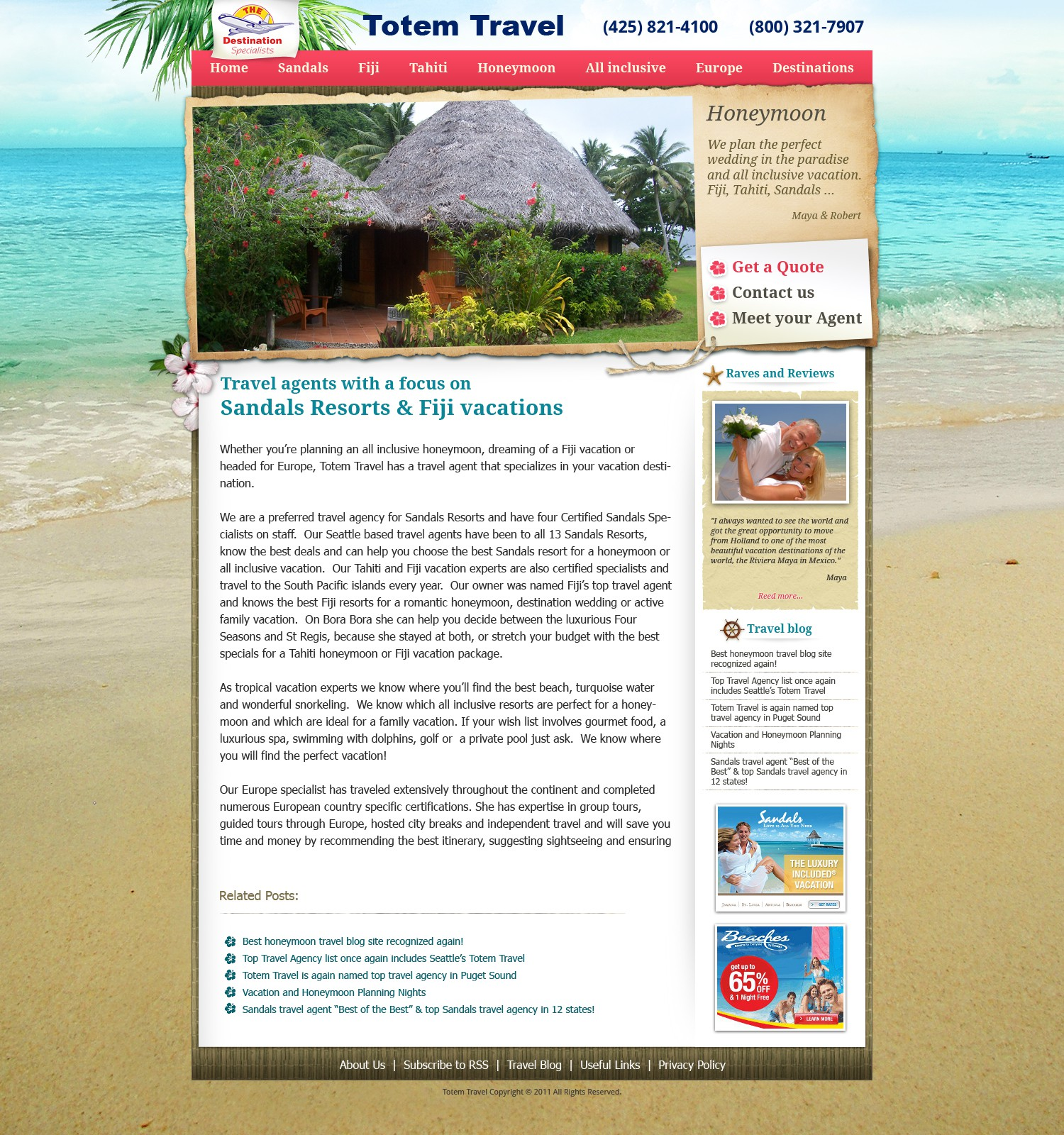 website design for Totem Travel