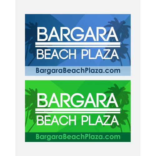"Create a new large advertising sign for ""Bargara Beach Plaza"" shopping complex."