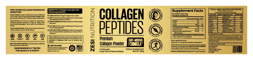 Design an attention grabbing, modern label for our collagen supplement