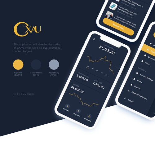 App Design for Cryptocurrency App