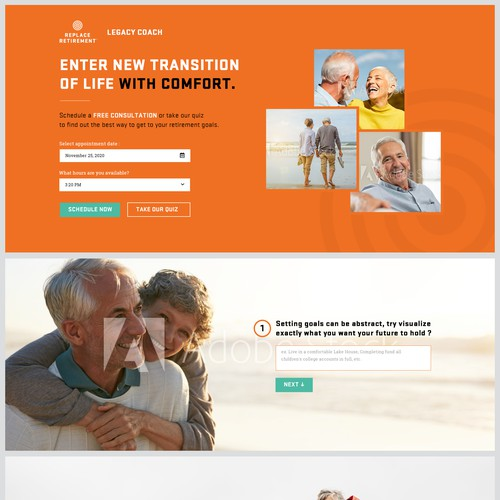 Landing Page Design for a retirement consultant service