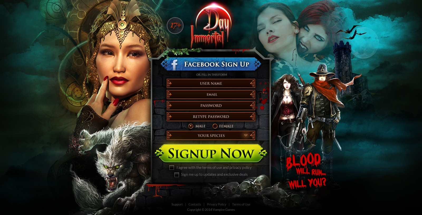 Create a high conversion landing page for a Vampire-based Online Game