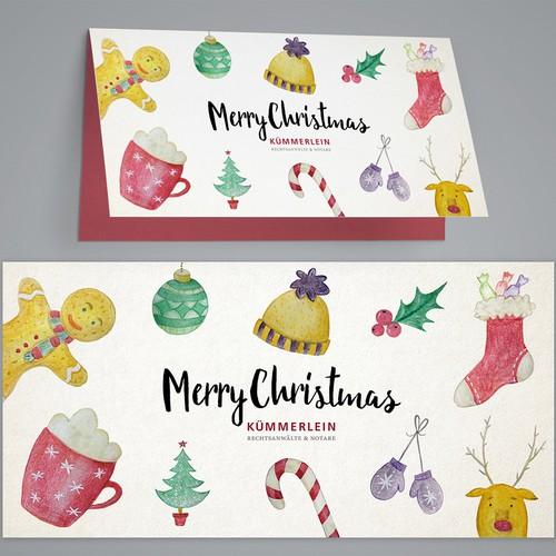 Christmas hand-drawn greeting card