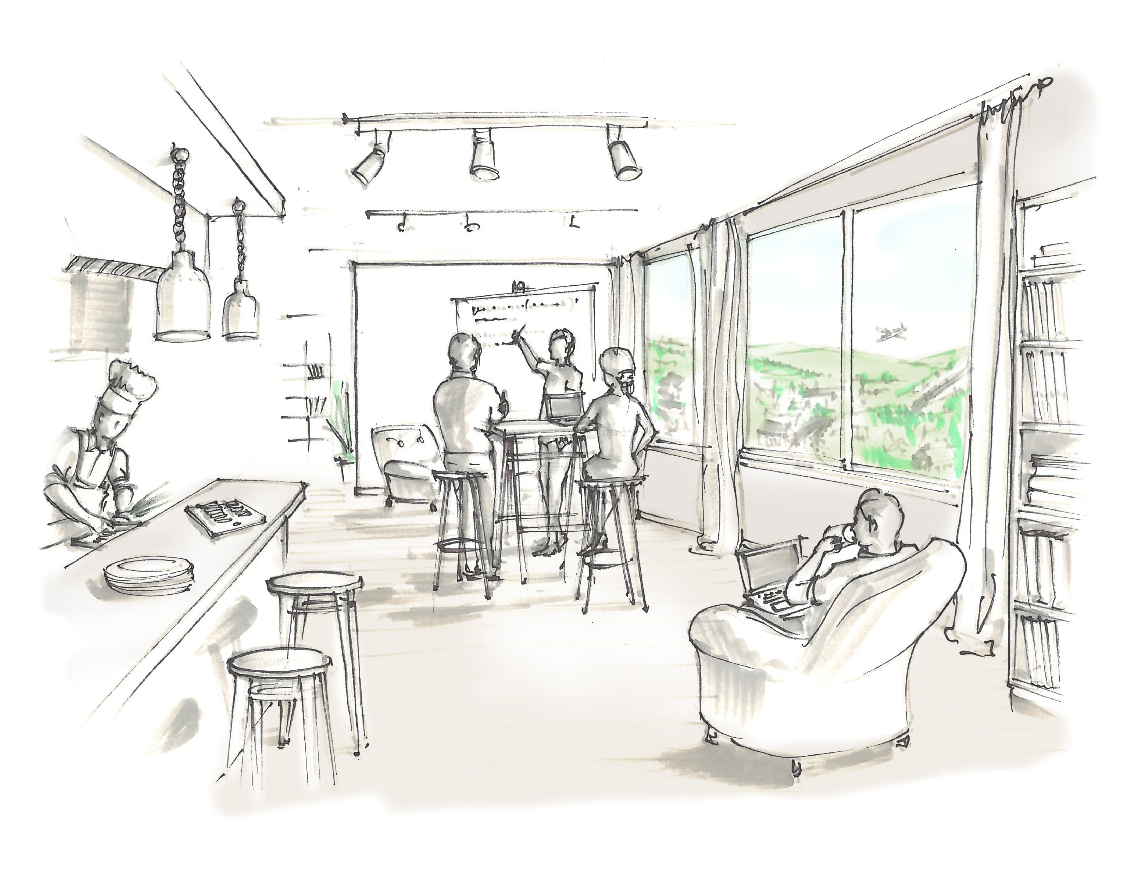 1 sketch of Guest House [Truckee] main workspace (interior)