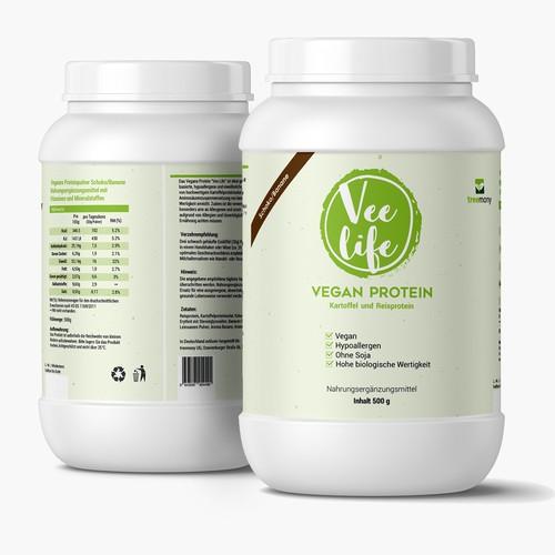 Label design for a vegan protein supplement