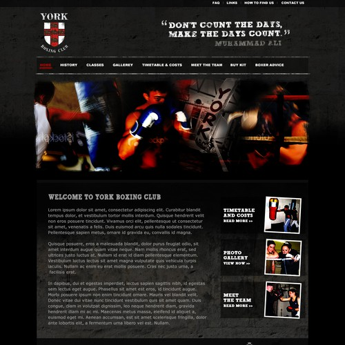 Gritty Home page design for Boxing Club Website.