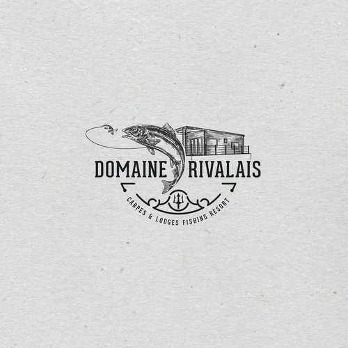 Vintage style logo concept for Domaine Rivalais lodges