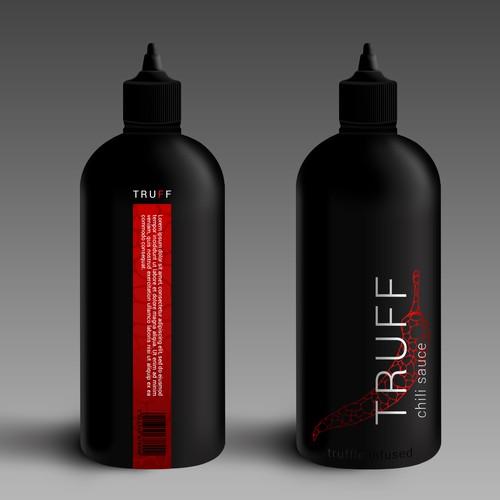 Design an eye catching bottle for a high end hot sauce brand
