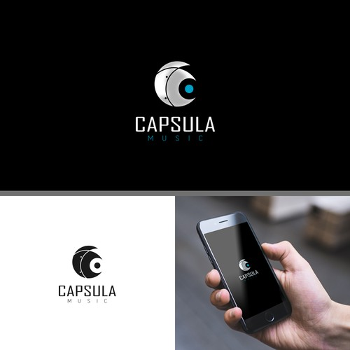 Space Capsule Inspired Logo with Hidden Musical Note