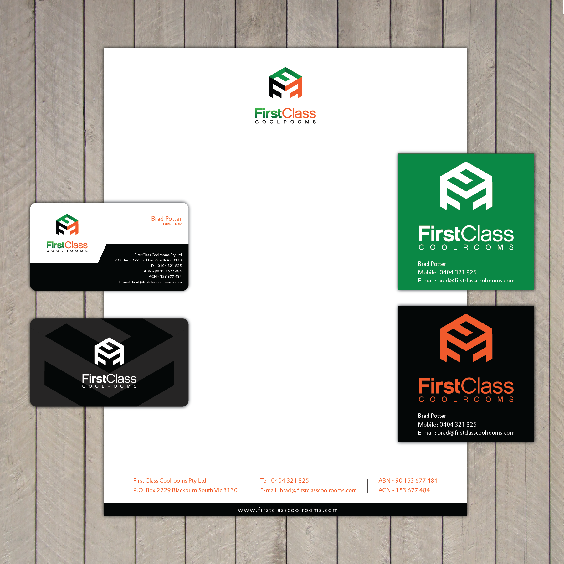 First Class Coolrooms needs a new stationery