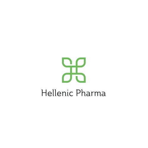 Simple geometric letter H leaves pharma logo