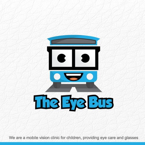 Cartoon-friendly logo for an eyecare mobile clinic for children