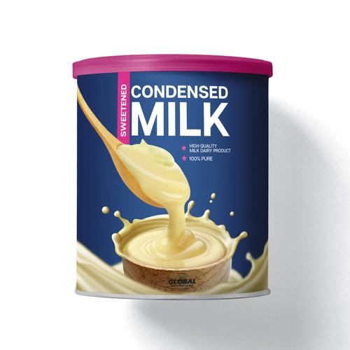 Sweetened Condensed Milk Label Design