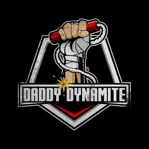 hand holding dynamite logo design for DADDY DYNAMITE MMA
