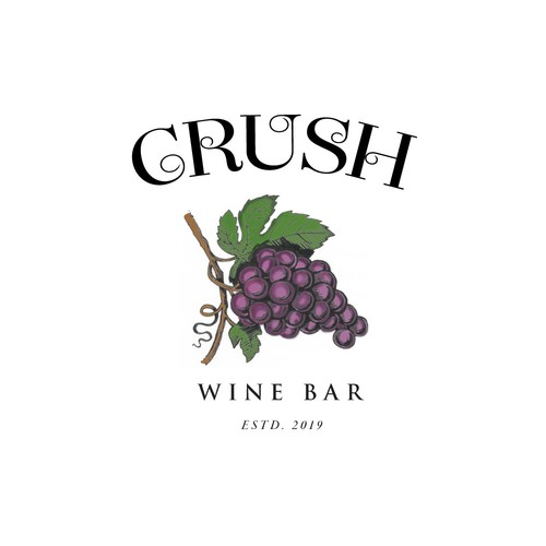 Quirky logo designed for the Crush wine bar