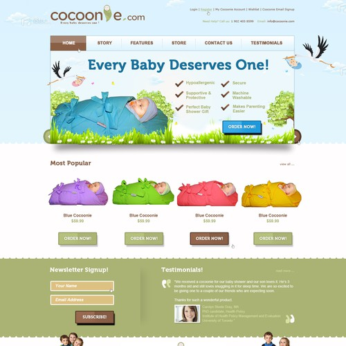 Website Design for cocoonie.com