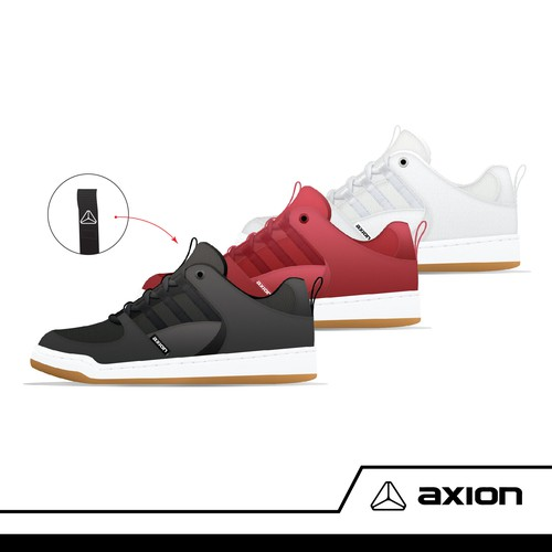 Skateboard shoe design for Axion shoes
