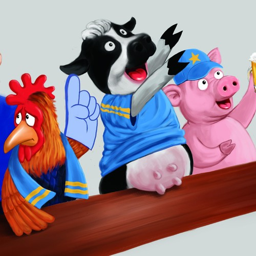 Funny Cartoon Illustration - Cow, Pig and Chicken in a Bar