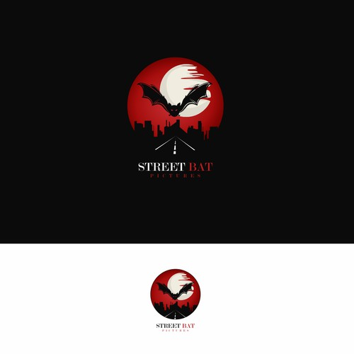 Dark Cool Creepy Gritty Noir Logo for Film Production Company Street Bat Pictures
