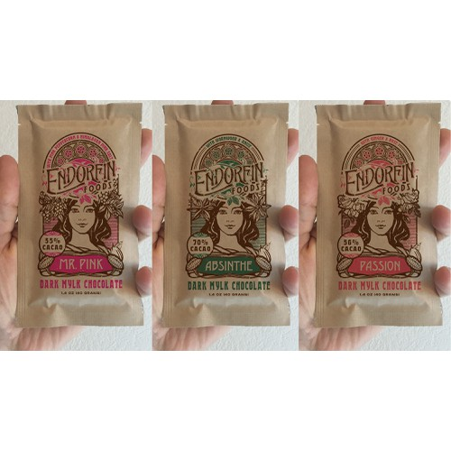 Art Nouveau Inspired Kraft Pouches for Organic Chocolate Bars