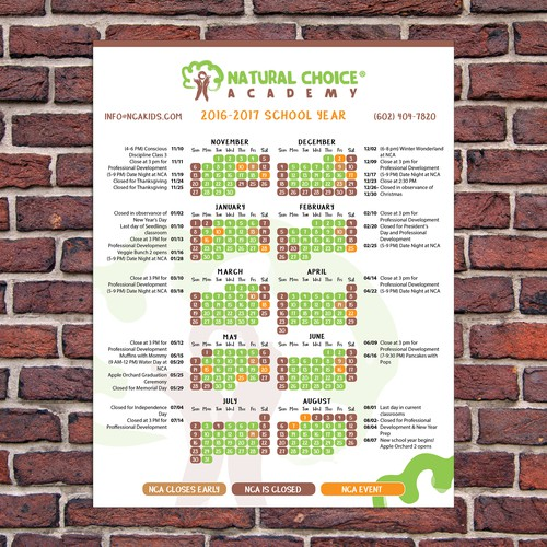 Natural Choice Academy Calendar Design