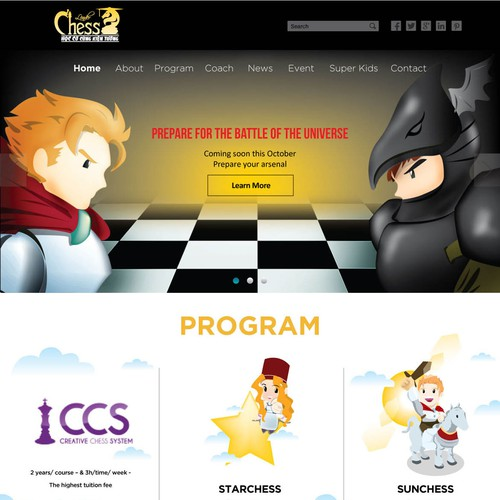 Creative website design of chess education for kids