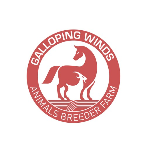 Need an innovative farm logo incorporating horses and goats in design