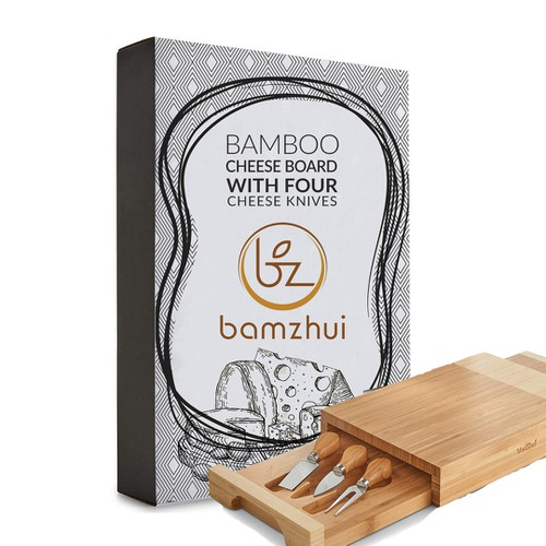 Elegant Bamboo Cheese Board Retail Package