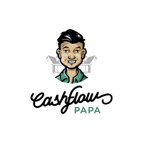 Young dad and Real estate blogger logo concept.