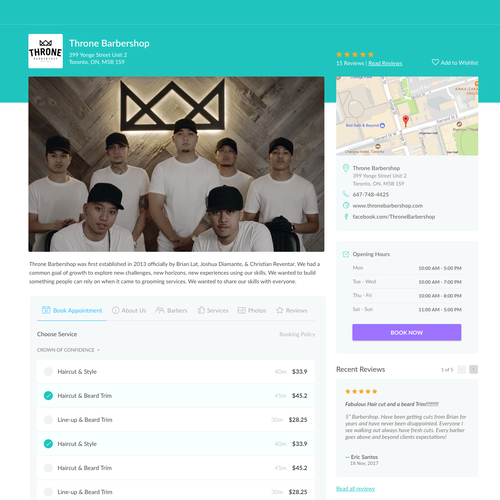 Design for online scheduling page for service business