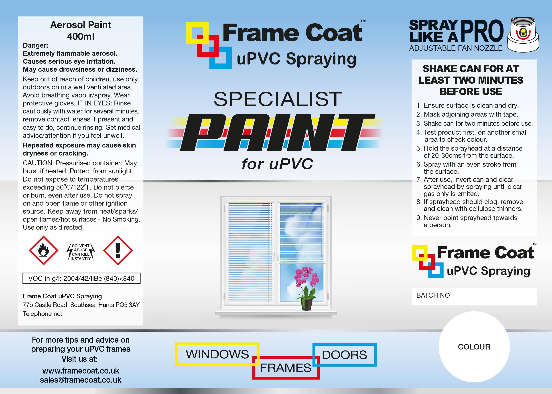 Aerosol label, DIY uPVC spray paints for uPVC windows and door frames.