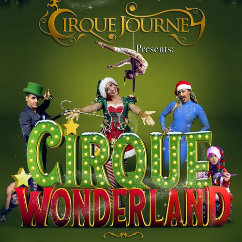 Circus poster design with 3D lettering