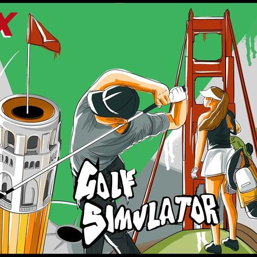 Mural design golf simulator