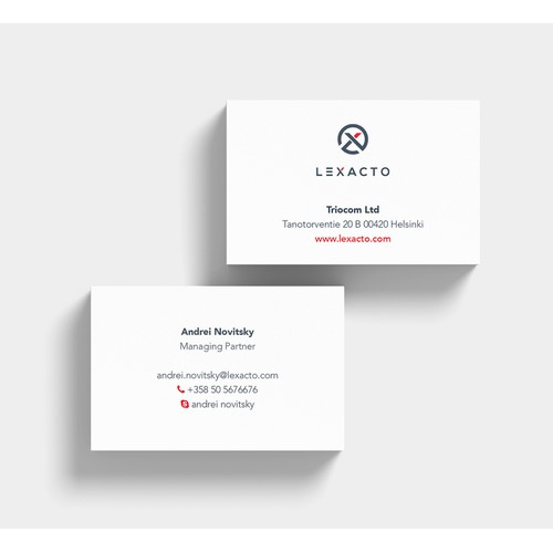 Business card for a law company