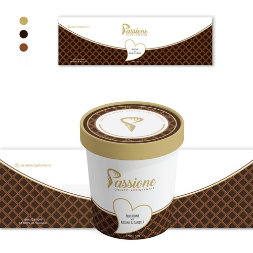 Packaging design for a gourmet gelato brand