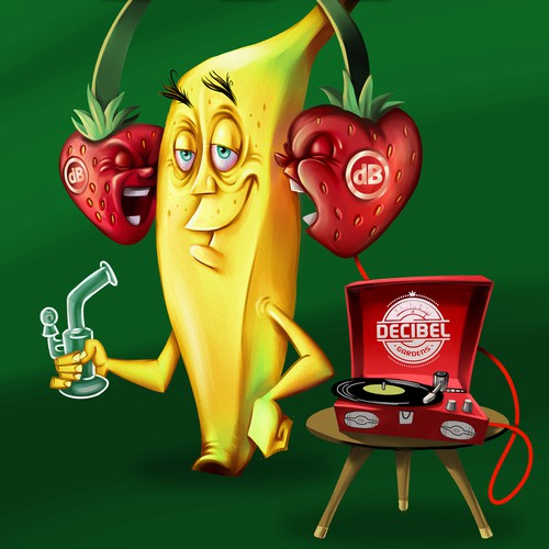 Hand painted banana mascot
