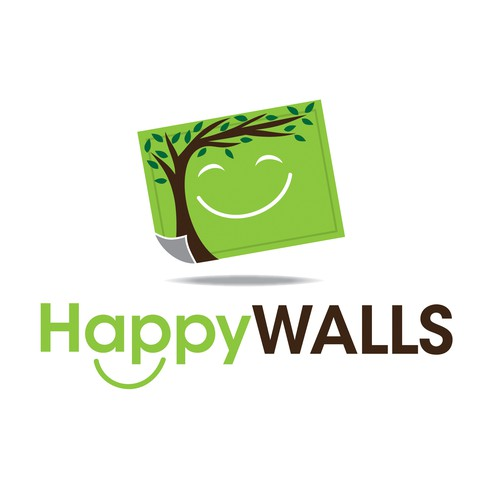 Create a fun exciting logo for my wall decal business Happy Walls