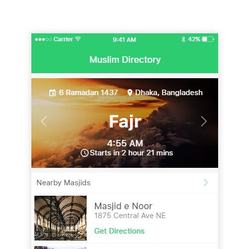 Muslim Directory App Design Concept