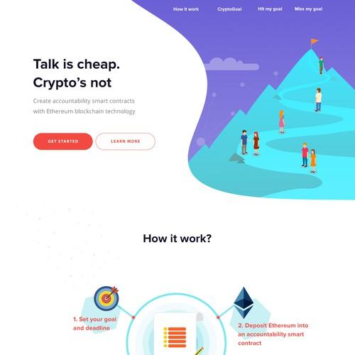 Web page design for the CryptoGoal.io company