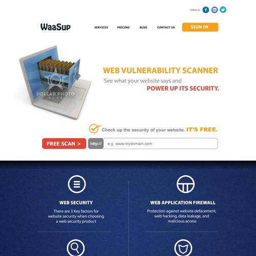 Redesign a web security service main page for WaaSup