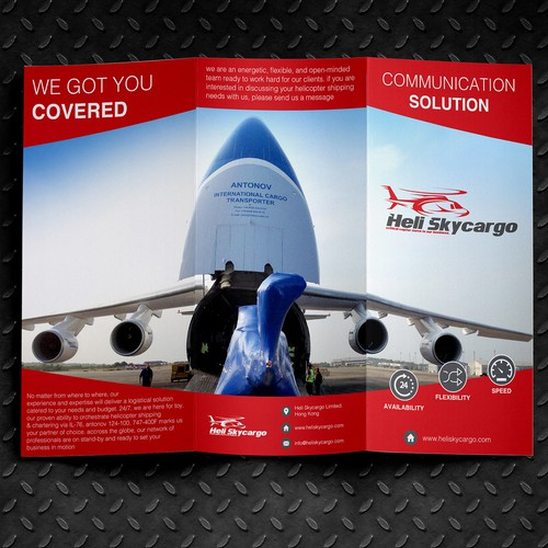 Create a sharp corporate brochure for Heli Skycargo