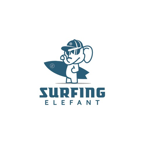 fun logo for surfing elefant