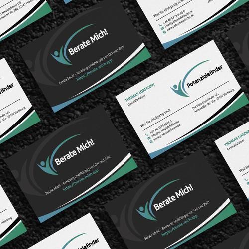 Erstelle eine Eyecatcher Visitenkarte für die innovative App Berate Mich!