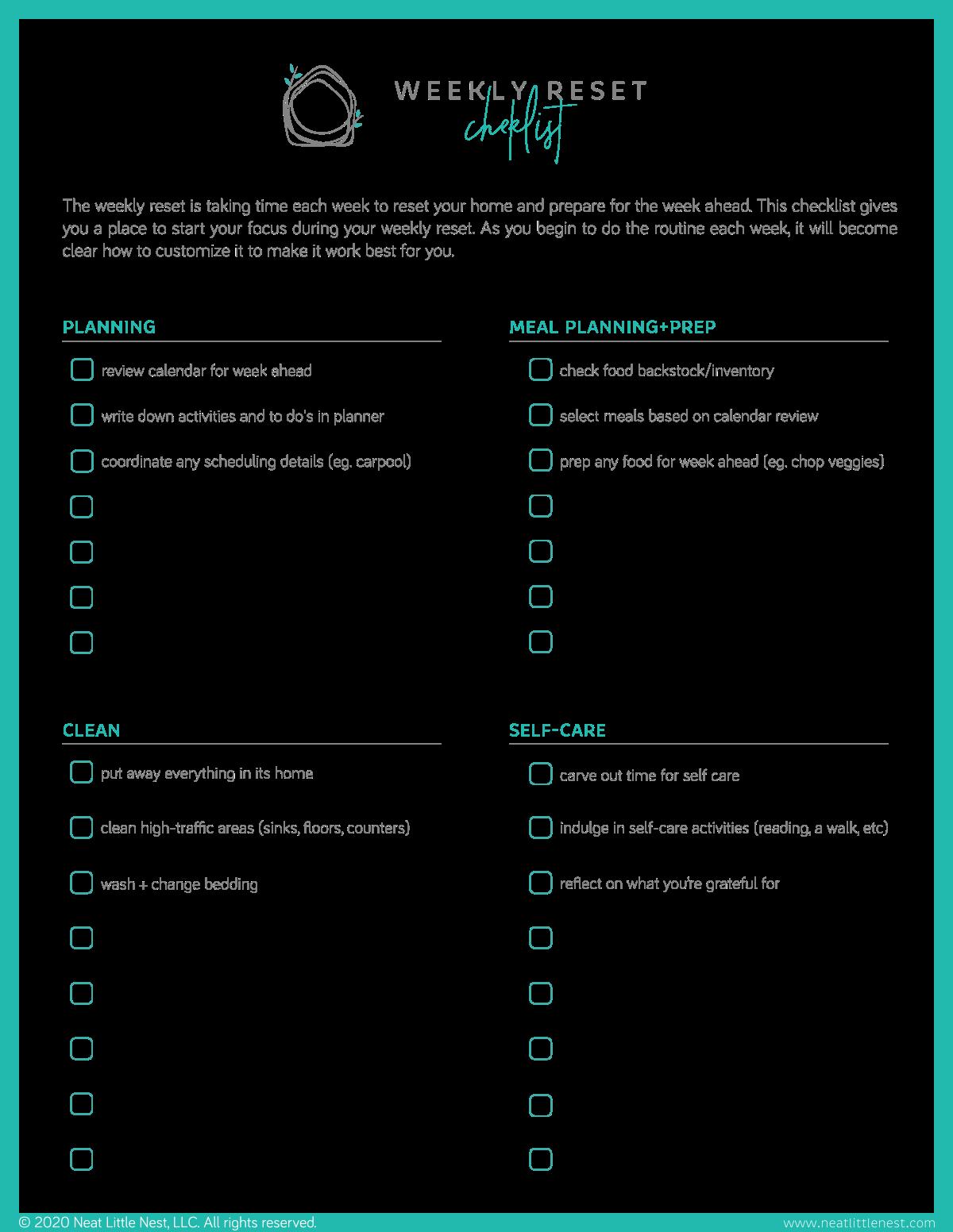 Weekly Reset Checklist